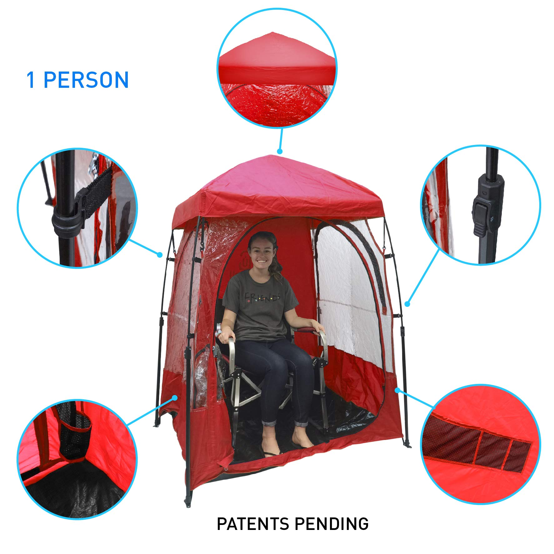 EasyGoProducts CoverU Sports Shelter – 1 Person Weather Tent Pod (RED) – Patents Pending