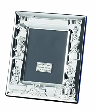 Sterling Silver Baby Photo Frame Showing Teddies At Play