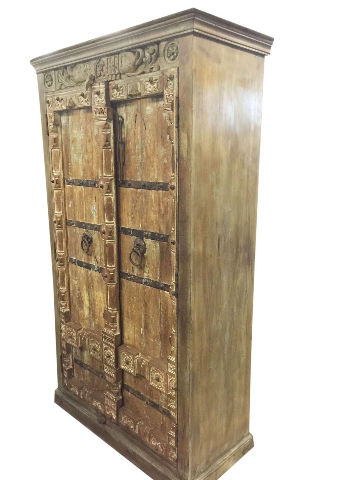 Mogul Antique Wardrobe Old Doors Indian Furniture Iron Storage Cabinet Eclectic mix Decor