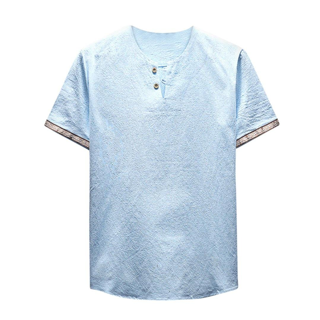 Allywit Mens Short Sleeve Button Henley T Shirt Casual Slim Fit Basic Summer Tops Tee