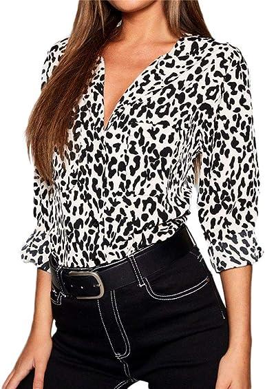 Blusas De Mujer Primavera Verano V-Cuello De Gasa Leopardo Tamaños Cómodos Camisas Clásicas Al Aire Libre Casual Slim Fit Cómoda Camisa De Manga Larga Blusa Mujeres: Amazon.es: Ropa y accesorios