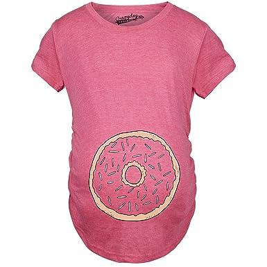 55d66064c Crazy Dog T-Shirts Womens Pregnancy Donut Baby Bump Cute Maternity  Announcement Funny T Shirt