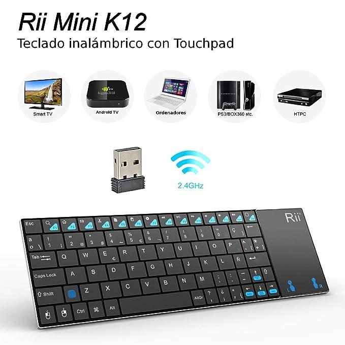 Rii Mini K12 2,4 GHz Teclado Inalámbrico con Multi-touchpad Para PC,