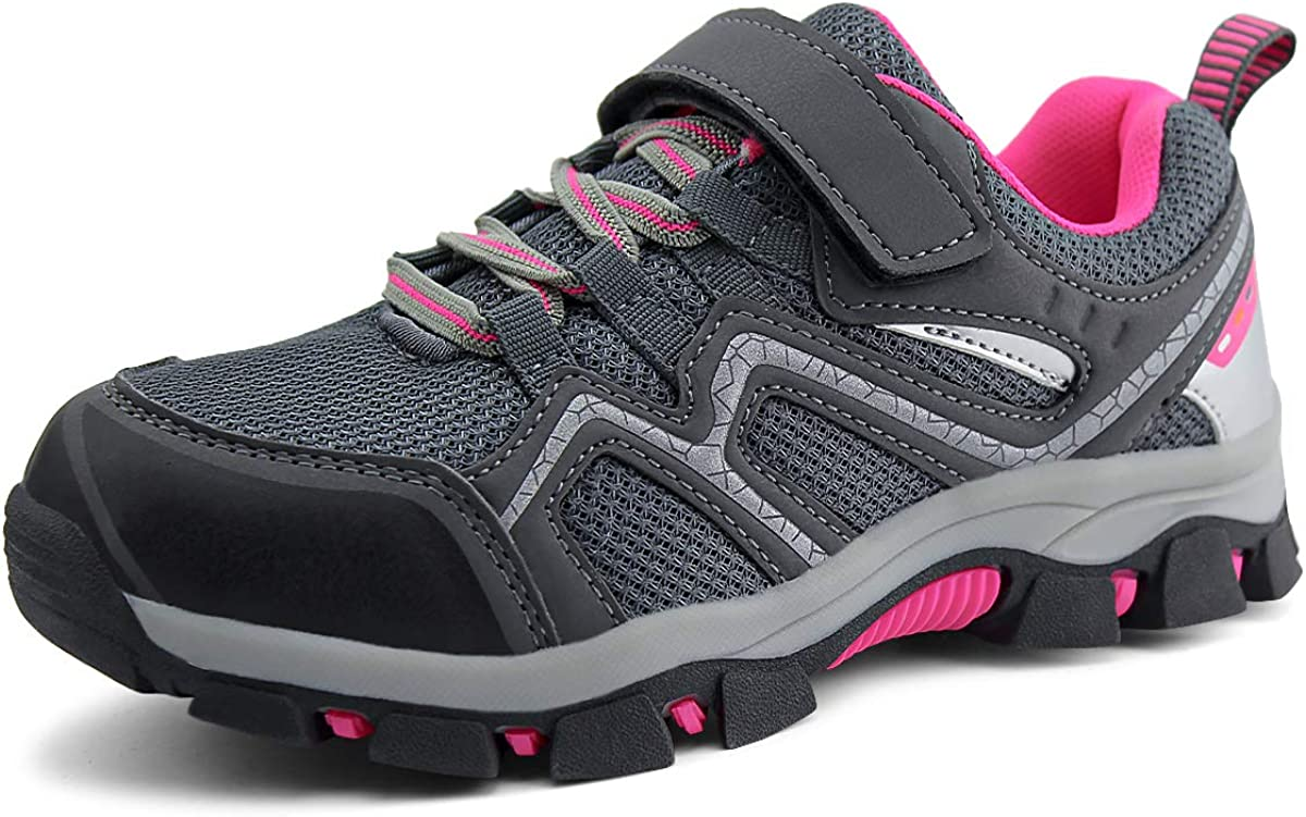 brooman Kids Outdoor Trail Hiking Shoes Boys Girls Running Shoes Sports Sneakers