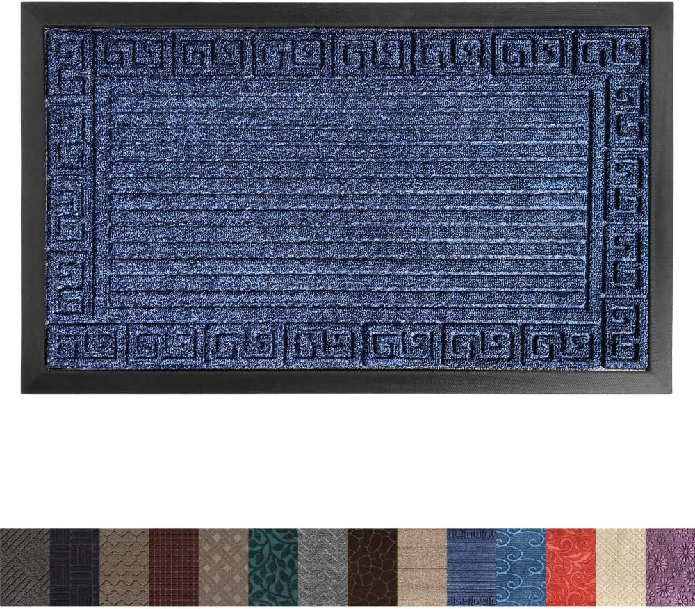 Gorilla Grip Original Durable Rubber Door Mat, Heavy Duty Doormat, Indoor Outdoor, Large, 23x35, Waterproof, Easy Clean, Low-Profile Mats for High Traffic Areas, Dark Navy Blue Greek Keys