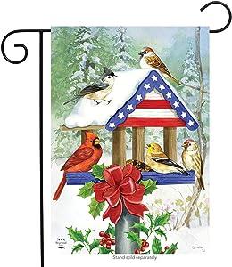 Briarwood Lane Patriotic Christmas Birdfeeder Garden Flag Cardinal Chickadees 12.5