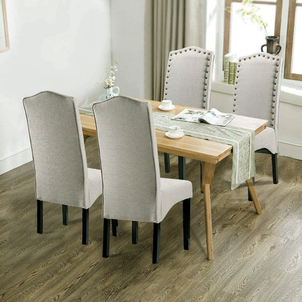 Merax PP036312LAA Dining Chair Accent Room Set with Solid Wood Legs, Beige,Set of 2, 18.11'' L x 24.01'' W x 40.95'' H, Light Beige