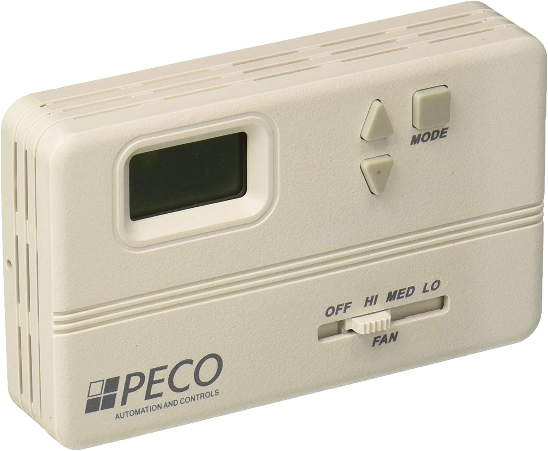 Line Voltage White Peco TA158-100 3 Speed Fan Coil Non-Programmable Thermostat