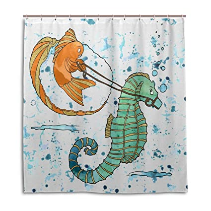 WellLee Fashion Custom Goldfish Seahorse Watercolor Ocean Fish Shower Curtain Waterproof Fabric Bathroom Decor 66 X