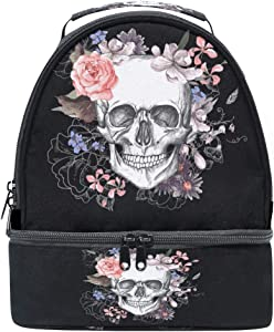 Sugar Skull Flower Insulated Lunch Handbag Box for Women Men Mexican Skulls Day of The Dead Thermal Lunch Food Tote Kit BlackFloral Cooler Bag Black Snacks Organizer Travel Work School Picnic Beach