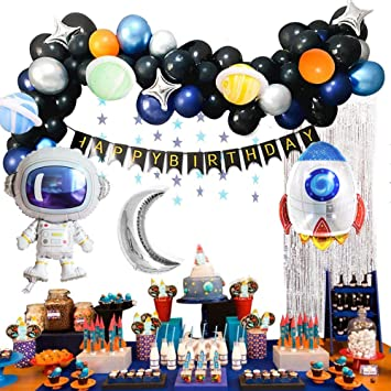 MMTX Decoracion Cumpleaños Globos de Feliz Cumpleaños Primer Cumpleaños Niño 1 año con Guirnalda Cumpleaños, Cohete Astronauta Moon Foil Globo(61pcs)