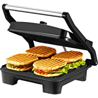 IKICH 4-Serving Nonstick Panini Press, Sandwich Maker -Panini Maker with Temperature Control, Extra-large Plate and Removable Drip Tray, Black, Stainless Steel