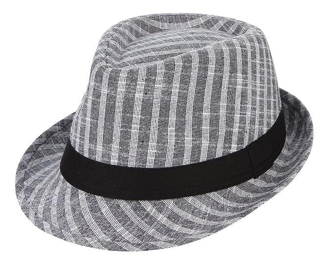 ef298e1e77b Image Unavailable. Image not available for. Colour  Gemvie Men s Summer Sun  Hat Grid Fedora Hat Short Brim Beach Cap