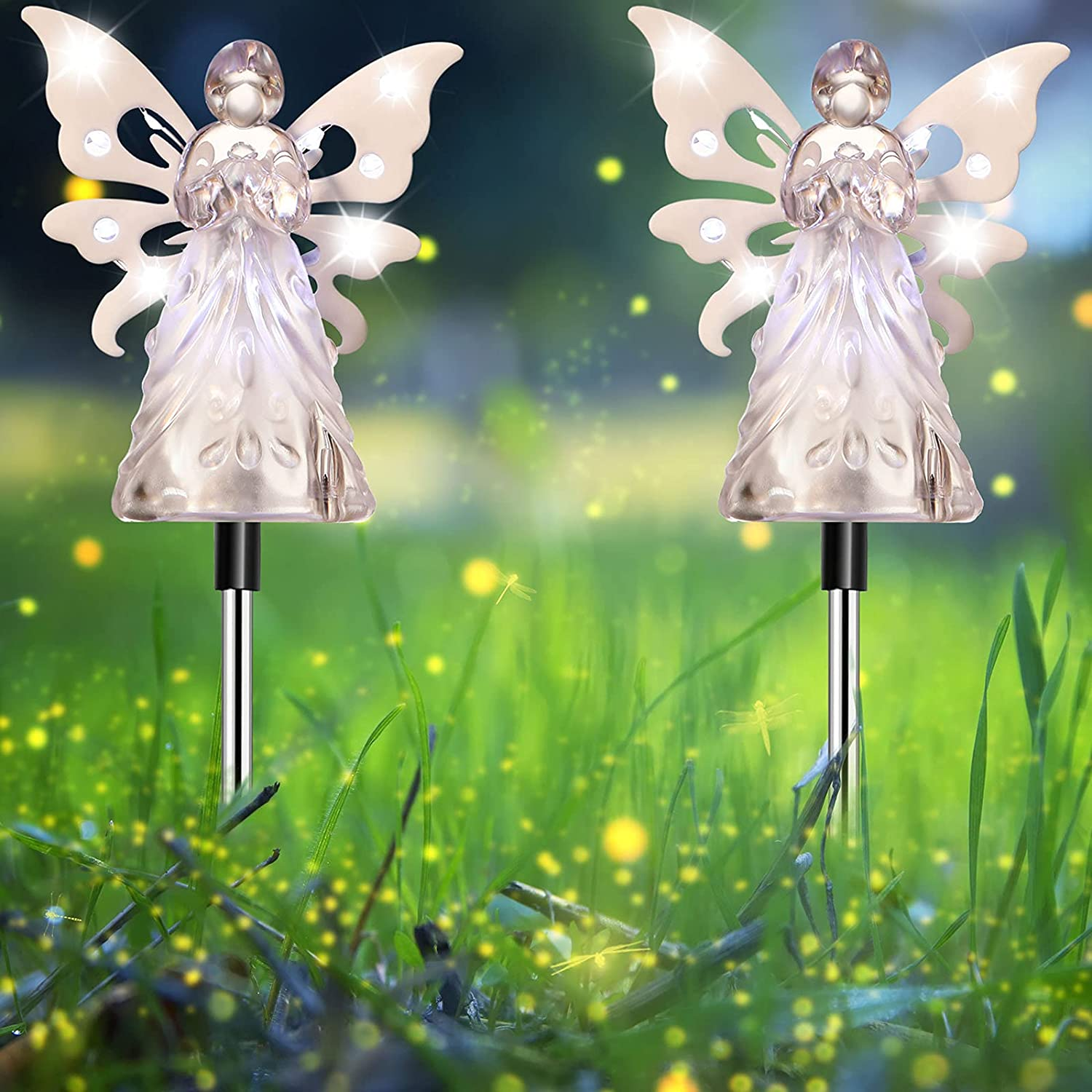 2 Pieces Solar Decorative Garden Stake Angel Design Lights Acrylic Beautiful Decoration for Outdoor Garden Patio Pathway, 35.5 Inch in Height (Clear)