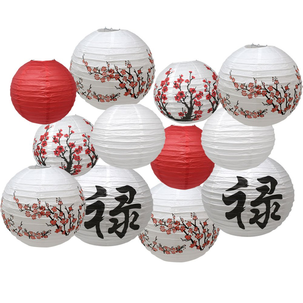 Just Artifacts Chinese New Year Themed 12pc Assorted Paper Lantern Pack