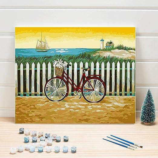 Pintura Pinturas al óleo por números Paisaje del mar Bicicleta DIY ...
