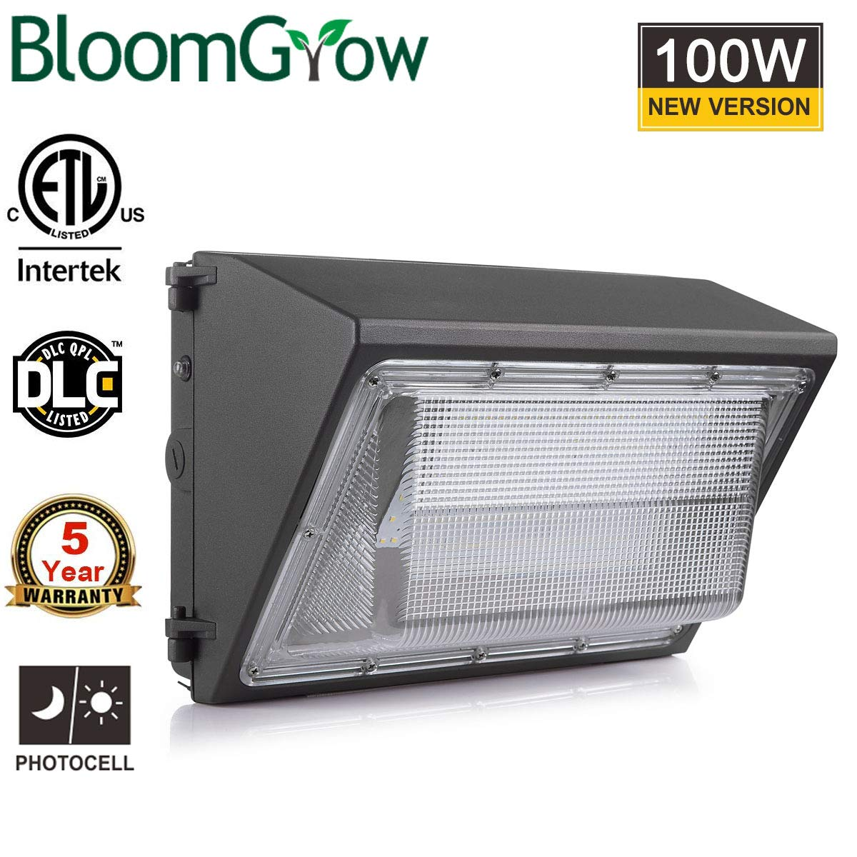 100W BloomGrow 100W Wall Pack LED Wall Lights 120V~277V 5000K Commercial Outdoor Light Fixture Commercial and Industrial Outdoor Lighting IP65 Waterproof