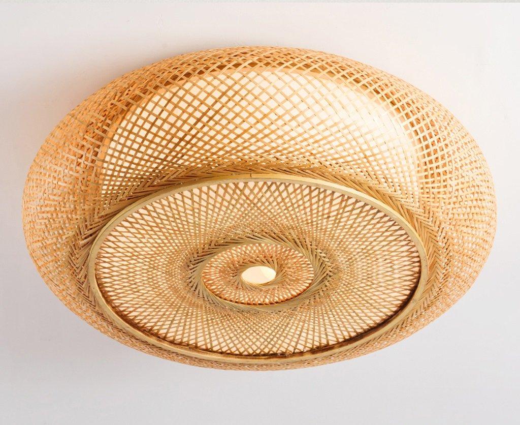 JCRNJSB® LED-Deckenleuchte, runde Wohnzimmerleuchten Schlafzimmerleuchten Einfache japanische Bambus-Bambus-Kunststudie Eingang Deckenleuchten E27 LED dimmbar Umweltschutz (größe   35  11cm)