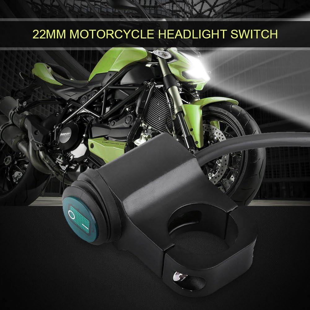 Keenso 12V /Étanche Moto Guidon Commutateur Projecteur Commutateur 22mm Universel Sur Arr/êt Commutateur Guidon Phare Interrupteur