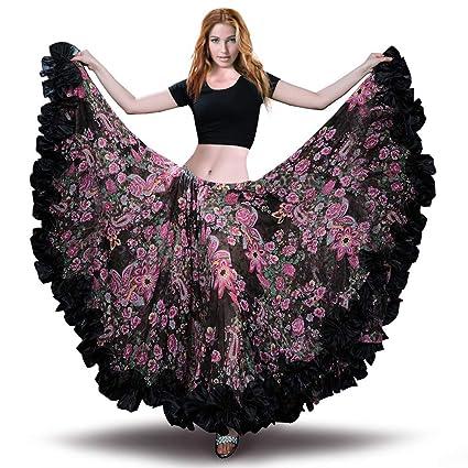 c4d3aaabb3 ROYAL SMEELA Falda de Gasa para Mujer Falda Maxi Full Voile Estilo Tribal  Faldas de Flamenco