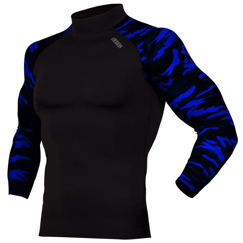 DRSKIN UV Sun Protection Long Sleeve Top Shirts Skins Tee Rash Guard Compression Base Layer UPF 50+ (RSB-MBU104, 2XL)