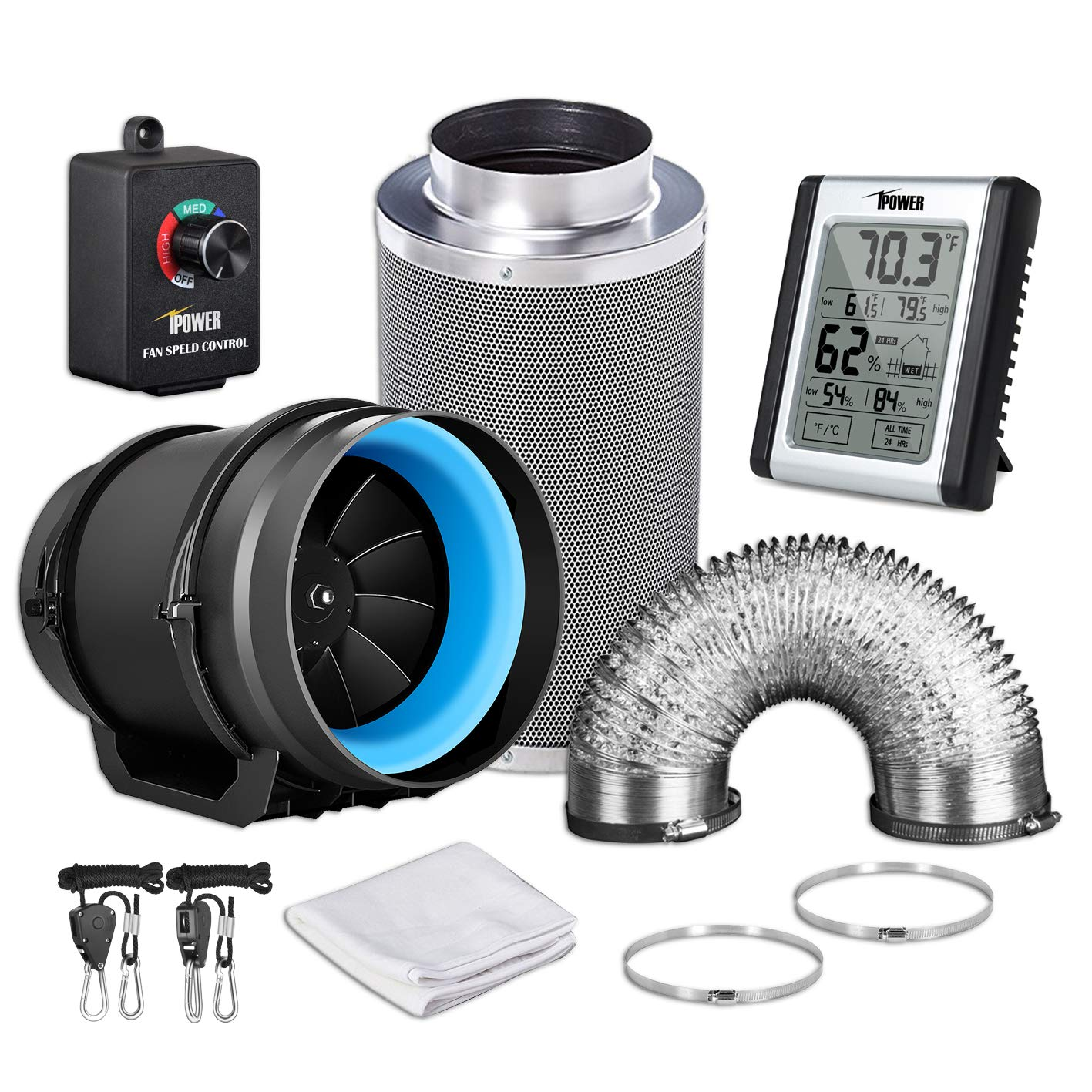 Kits Black iPower GLFANXEXPSET8D25CHUMD 8 Inch 550 CFM Inline Carbon Filter 25 Feet Ducting with Fan Speed Controller and Temperature Humidity Monitor and Grow Tent Ventilation