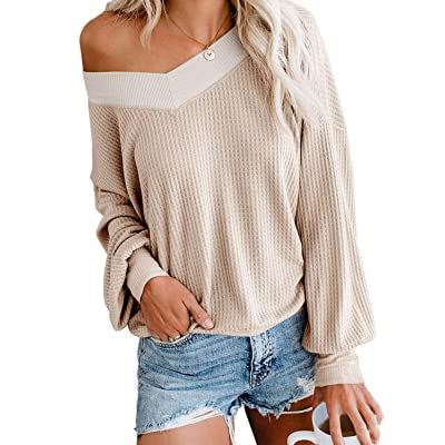 Adreamly Women's V Neck Long Sleeve Waffle Knit Top Off Shoulder Oversized Pullover Sweater at Women's Clothing store