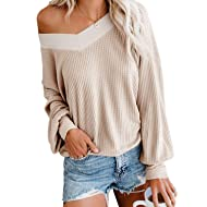 Adreamly Women's V Neck Long Sleeve Waffle Knit Top Off Shoulder Pullover Sweater