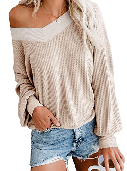 3f7d4ae2b87 Adreamly Women's V Neck Long Sleeve Waffle Knit Top Off Shoulder Pullover  Sweater