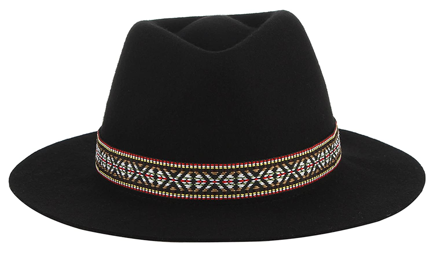 Gemvie Womens Wool Felt Tribal Printed Band Gangster Trilby Dent Fedora Hat Black at Amazon Womens Clothing store: