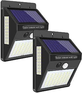 Luz Solar Exterior 100 LED, LECLSTAR Foco Solar Exterior Gran Ángulo 270ºde Iluminación,IP65 Impermeable Lámparas Solares para Exterior Jardin Garaje 2-Paquete