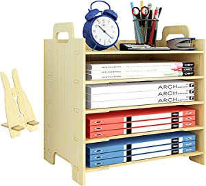 Marbrasse 5 Trays Wooden Desk File Organizer, Document Mail Paper Organizer Sorter Letter Tray Storage Shelf Sorter for Office Home Supplies (White Maple)