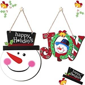Jetec 2 Pieces Christmas Wood Sign Christmas Hanging Door Sign Christmas Happy Holiday Decoration for Door Wall Fireplace Christmas Outdoor Indoor Decoration