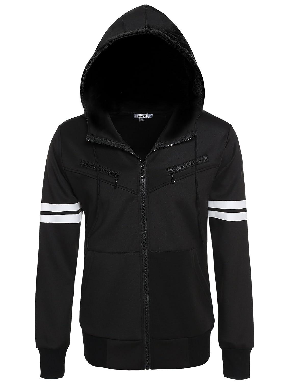 80a8fbd3 HOTOUCH Men's Zipper Sweatshirt Hoodie Striped Long Sleeve Full Zip ...