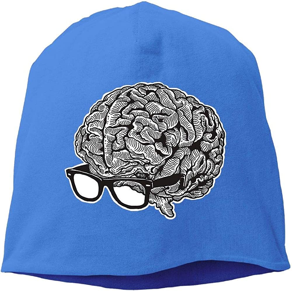 Janeither Headscarf Brain with Glasses Hip-Hop Knitted Hat for Mens Womens Fashion Beanie Cap