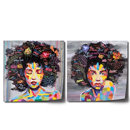 FREE CLOUD Crescent Art Black Art African American Wall Art Large Afro  Painting for Living Room, Original Design Painting on Canvas Print (Set