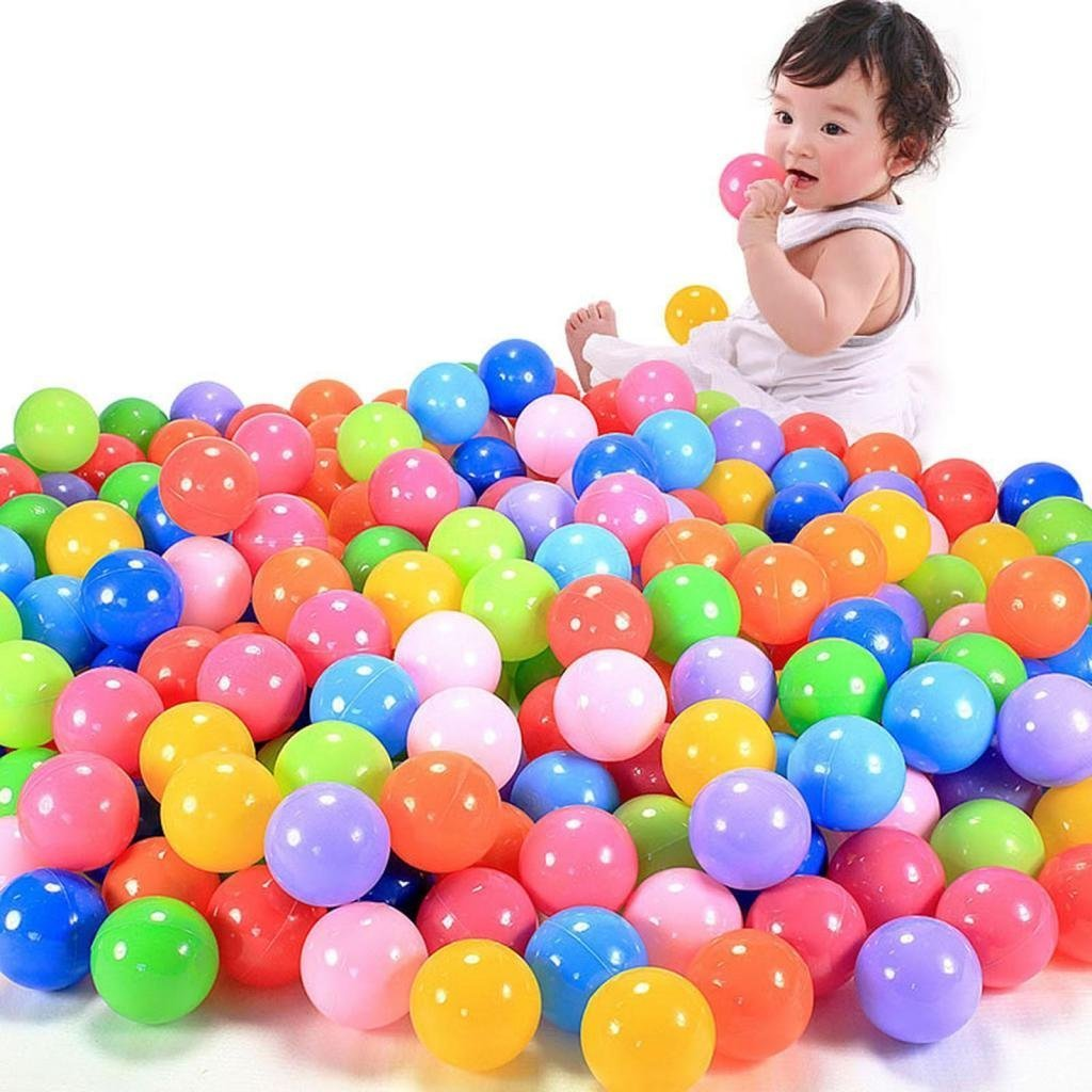 E Support™ 1000 Stück Bunte Kinderbälle Spielbälle Bällebad Kugelbad Plastikbälle Babybälle