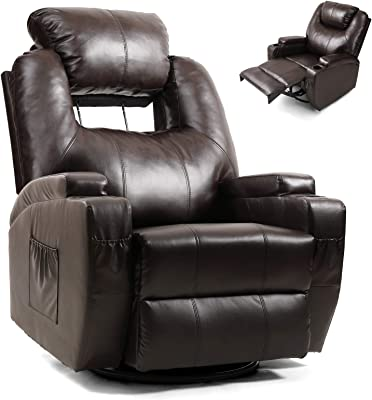 Artist Hand Massage Recliner Chair with Cup Holder Electric Heated Living Room Chair Bedroom Chair Reading Chair Headrest Adjustable Lounge Chair (Brown)