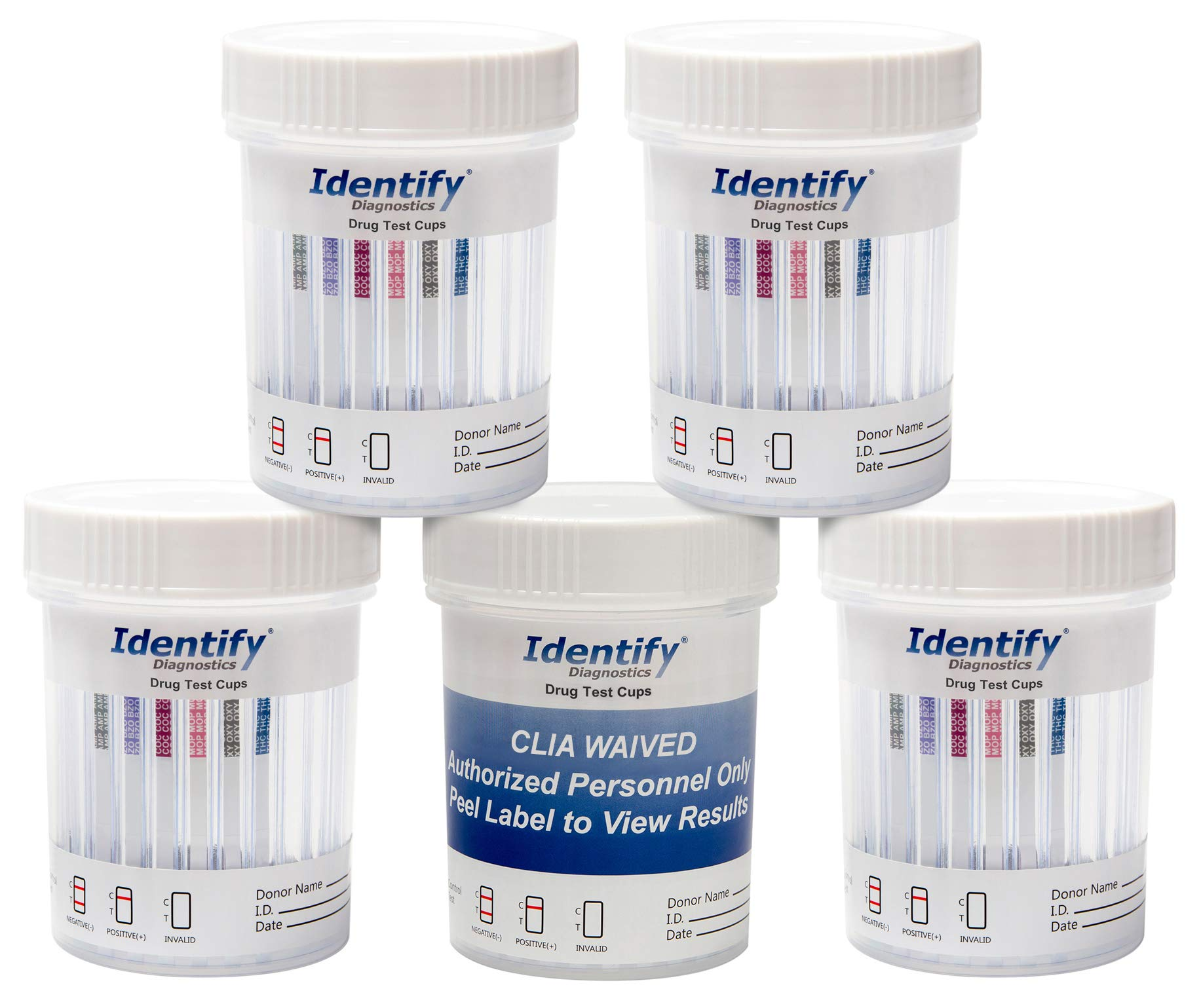 50 Pack Identify Diagnostics 6 Panel Drug Test Cup Testing Instantly for 6 Different Drugs: (THC), (OXY), (MOP), (COC), (BZO), (AMP) #ID-CP6