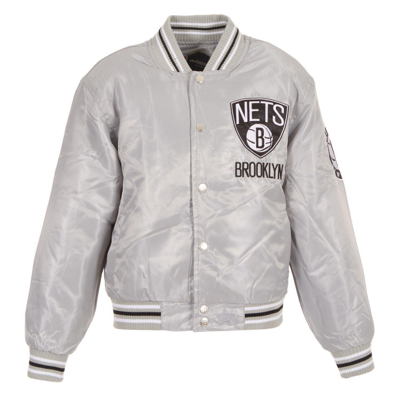 711e18973 J.H. Design Men's NBA Brooklyn Nets Satin Logo Basketball Jacket at ...