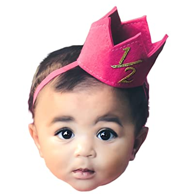Baby Girl Half 1 2 Birthday Celebration SOFT Felt Pink Gold Party Mini Crown
