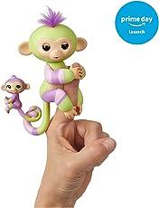 WowWee Fingerlings Baby Monkey & Mini Bffs Green/Mauve Jess and Eden, Multicolor