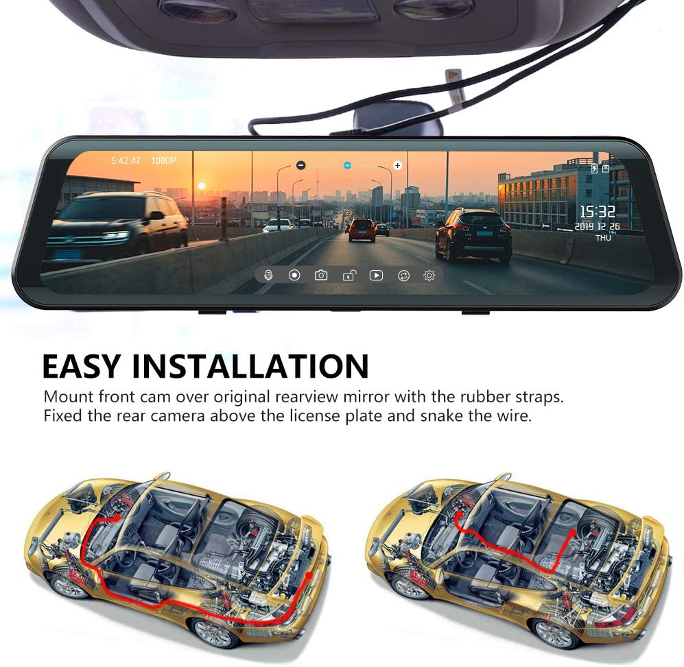 Mirror Dash Cam Front and Rear Backup Camera Fodsports Car Dash Cam 12 Inch 1920X1080P Stream Media Anti Glare IPS// 150/° Wide//G-Sensor//Night Vision//Reverse Cam// 32GB TF Card// 500mAh Parking Monitor