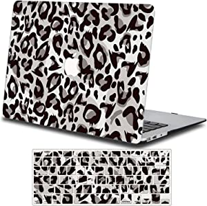 One Micron Case + Keyboard Cover Compatiblewith Old MacBook Pro 13 Inch, Plastic Pattern Hard Case Shell Compatible MacBook Pro 13.3 Inch (Model: A1278, with CD-ROM)-Gray Leopard Print
