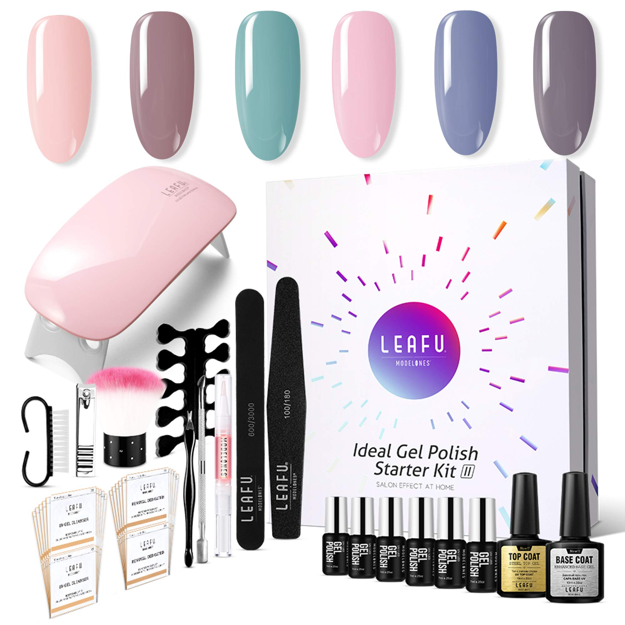 Modelones Gel Nail Starter Kit, with 6 Color Gel in Tiny Bottles 7ml, Base and Top Coat Set 10ml each, 6W Mini Nail Lamp and Manicure Tools Set by modelones