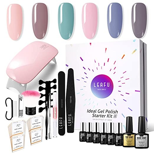 Modelones Gel Nail Polish Starter Kit, with 6W LED Lamp Base Top Coat, 6 Gels in Tiny Bottles, Portable Nail Gel Kit for Travel best gel manicure kit