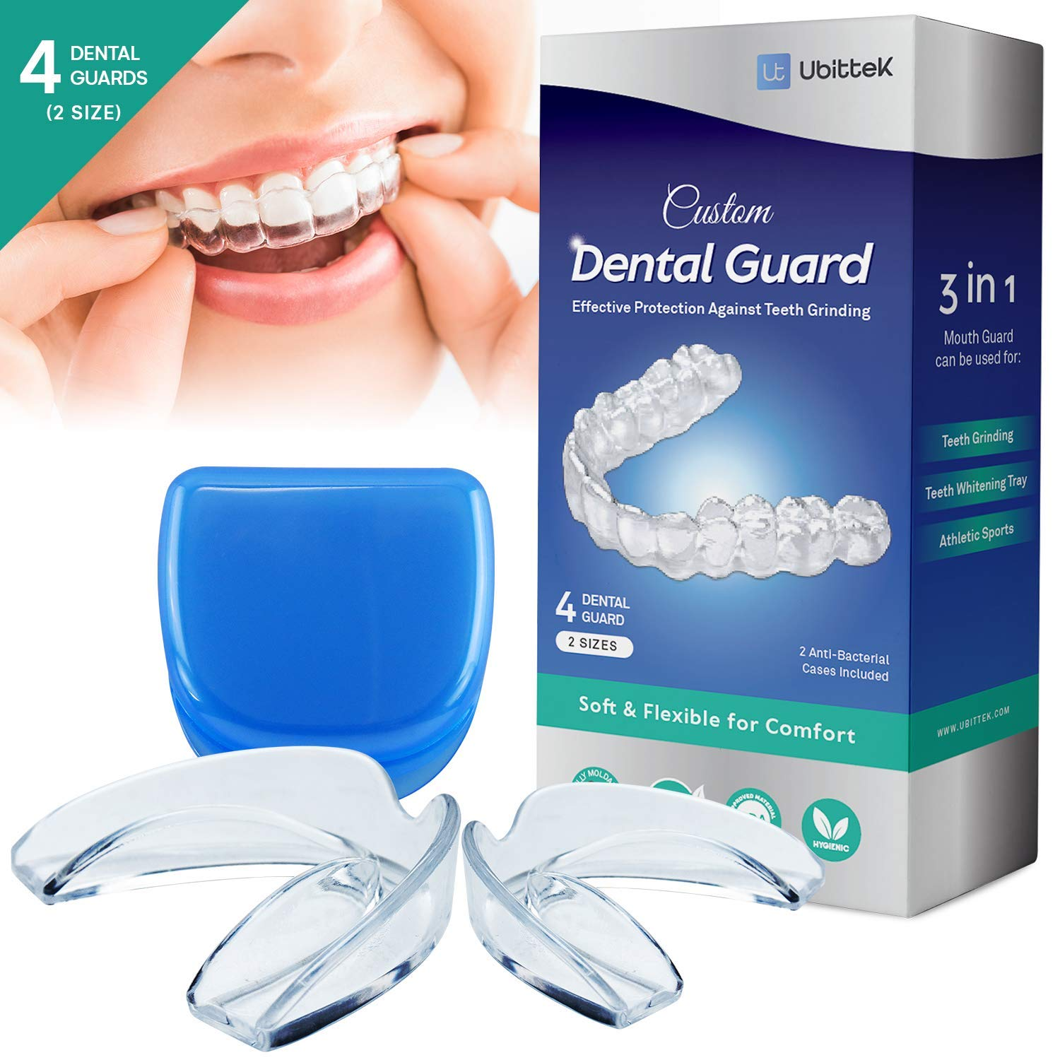 Ubittek Teeth Grinding Moldable Custom Dental Night Guards - 2-Size, 4 Pieces Mouth Guards