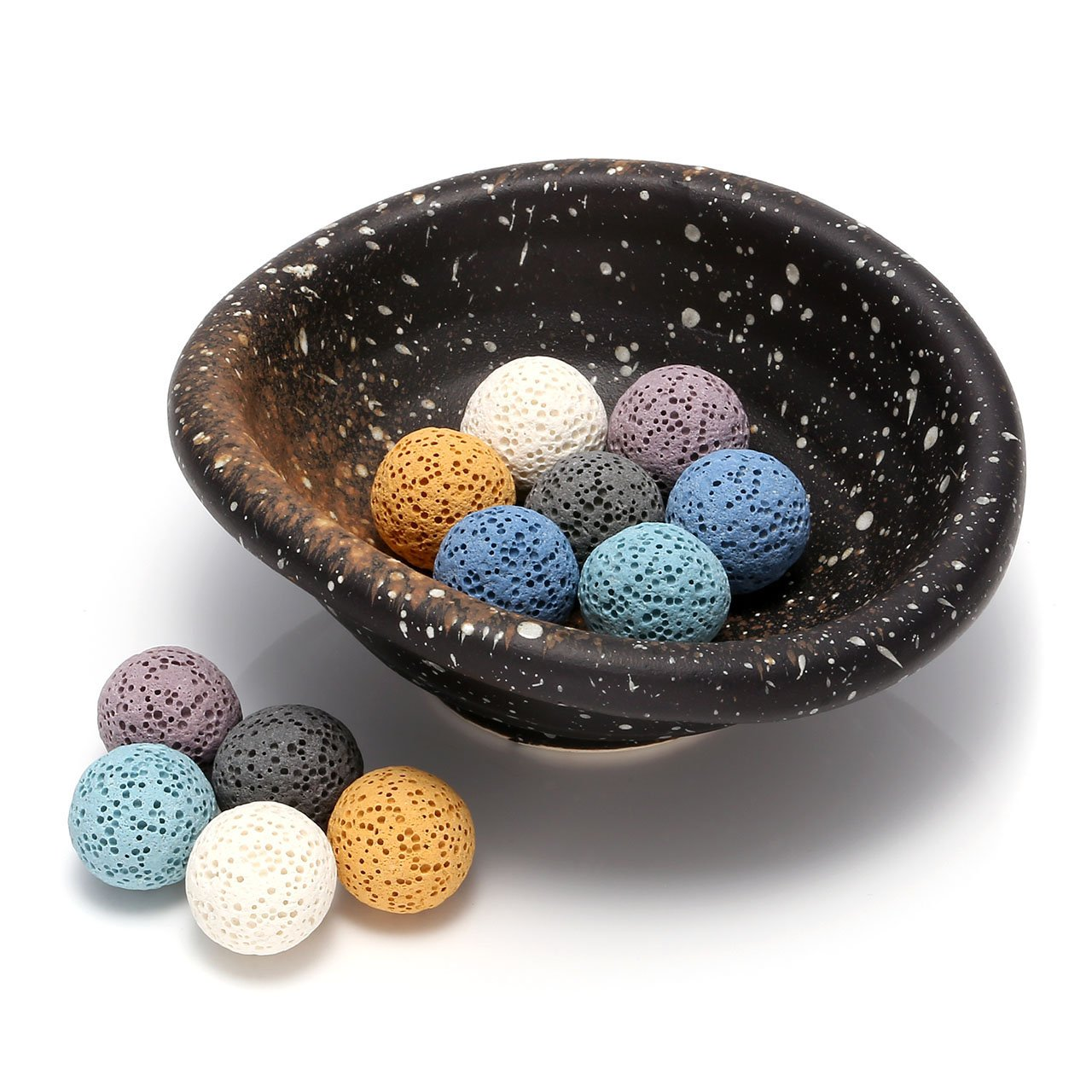 Top Plaza Lava Rock Gemstone Aromatherapy Essential Oil Diffuser Set - Oval Shape Ceramic Incense Burner/Ware/Holder/Bowl With 12Pcs Lava Stone Balls