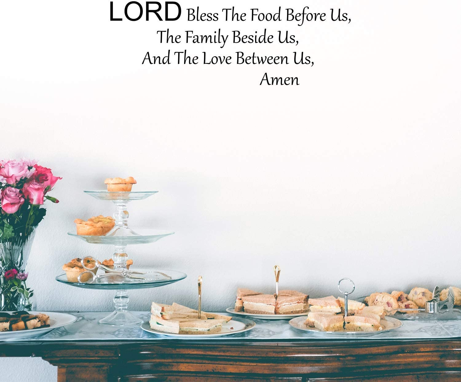 Imprinted Designs Lord Bless This Food Vinyl Wall Decal Sticker Art (12