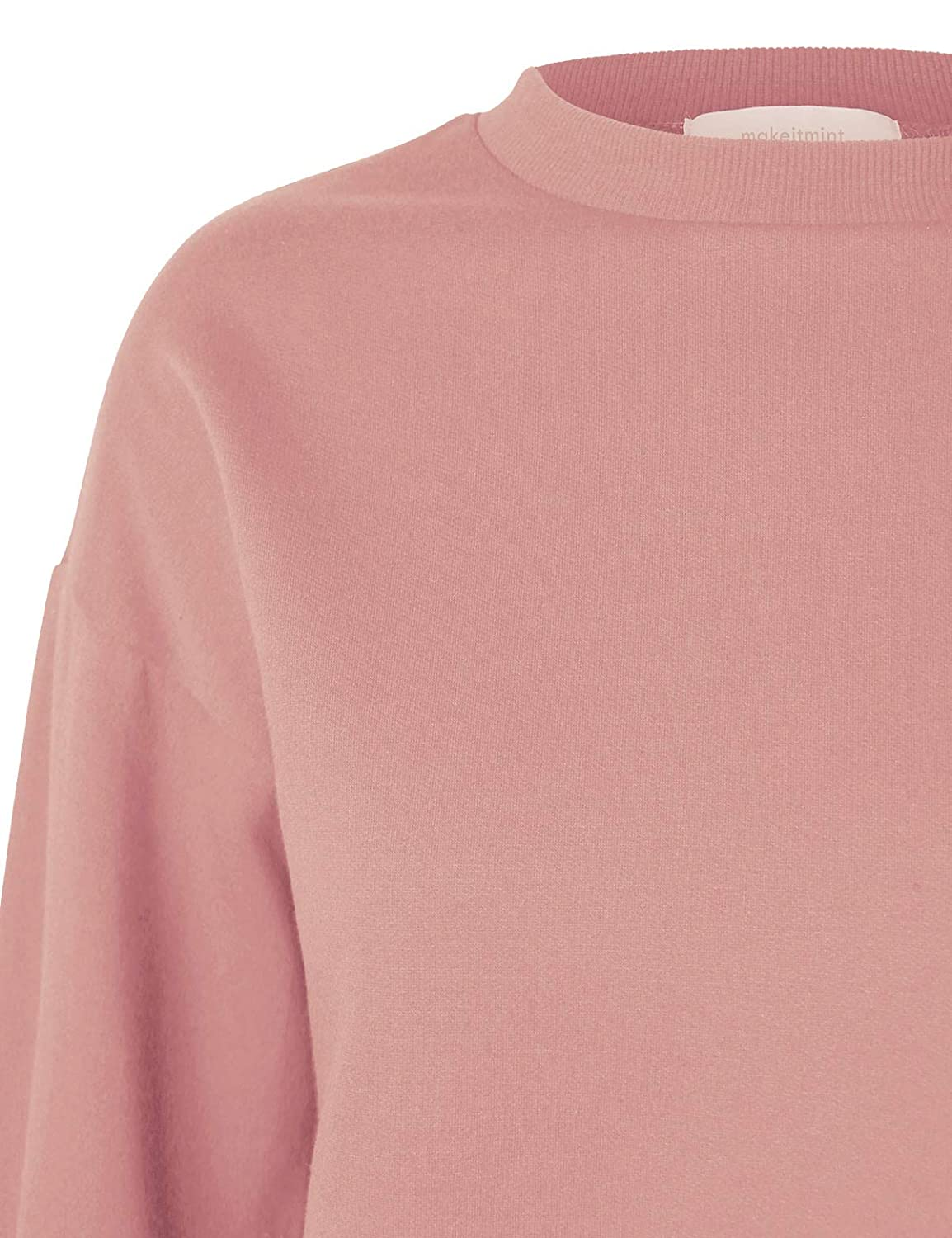 makeitmint Womens Must Have Oversized Soft French Terry High Low Sweatshirt Top YIL0020-ROSE-MED